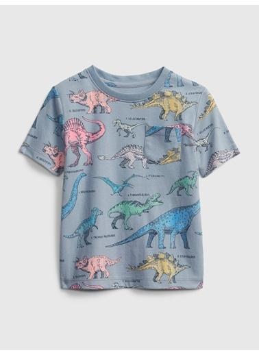 Gap Kısa Kollu Desenli T-Shirt Gri